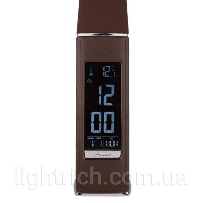 Светодиодная настольная сенсорная лампа Lightrich T-158 c часами и термометром, Brown